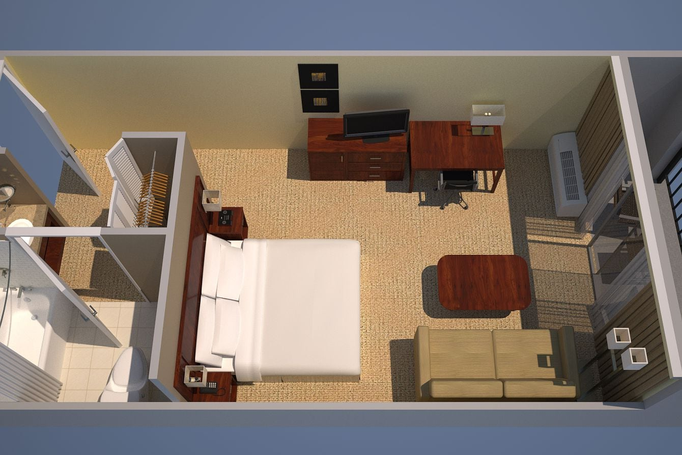 Courtyard or Pool View, Guest Room, 1 King, Sofa bed