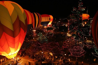 hot air balloons and lights