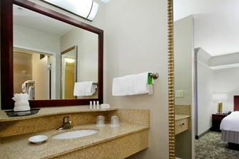 bathroom vanity with large mirror, fluffy towels, and Paul Mitchell toiletries