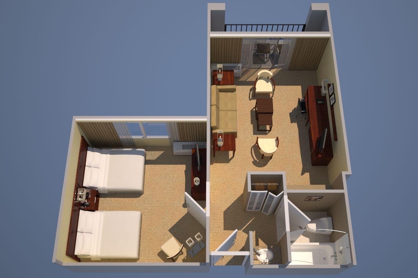 Zwei-Zimmer-Suite mit einem Schlafzimmer zwei Queensize-Betten, Bettsofa