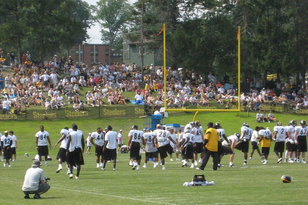 Steelers Training Camp crowd and team