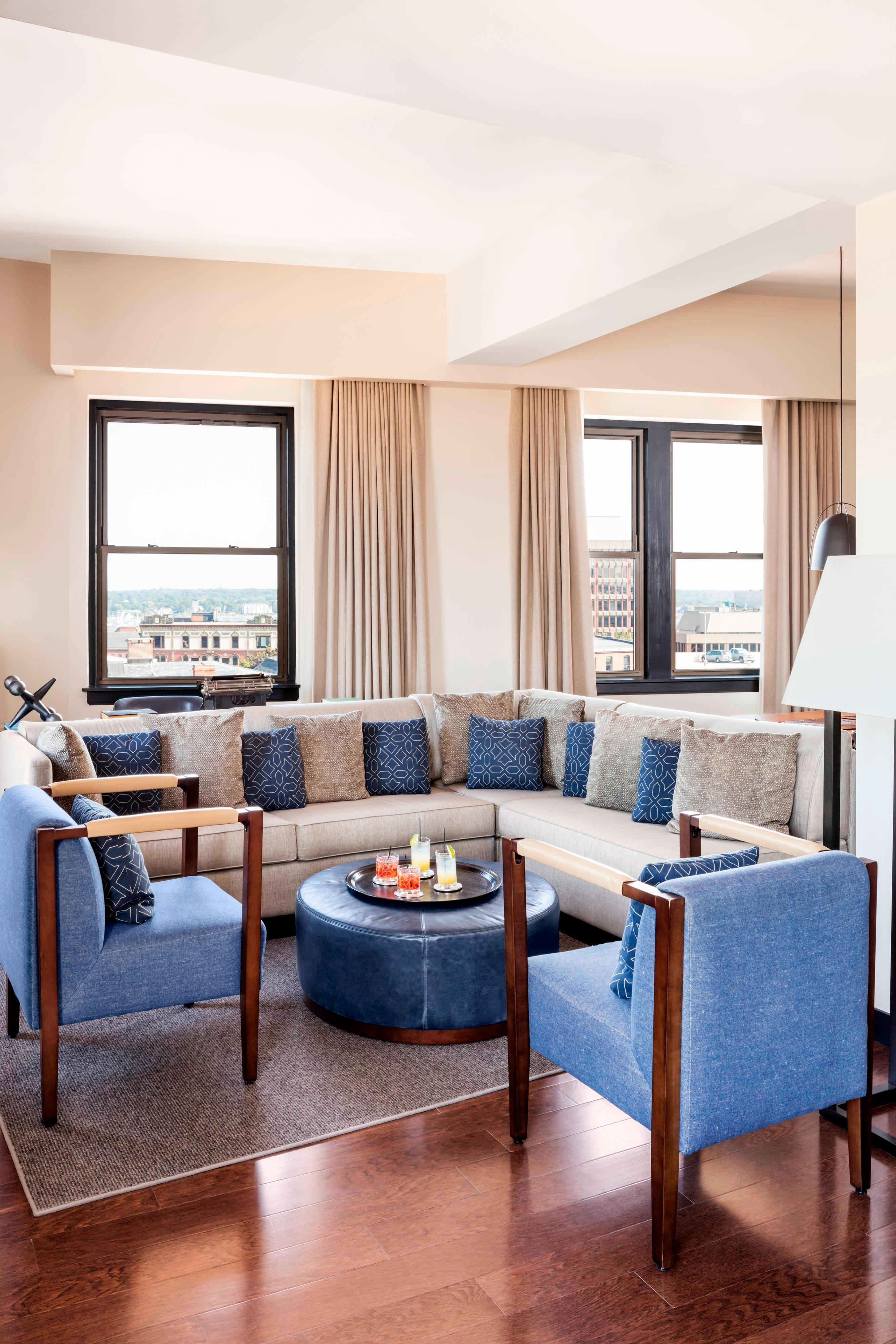 Living room seating area of the Penthouse Suite
