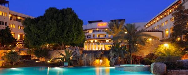 Exterior of the Dead Sea Marriott Resort & Spa at night