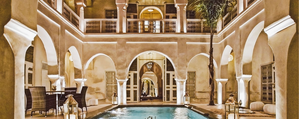 Patio Pool By Night