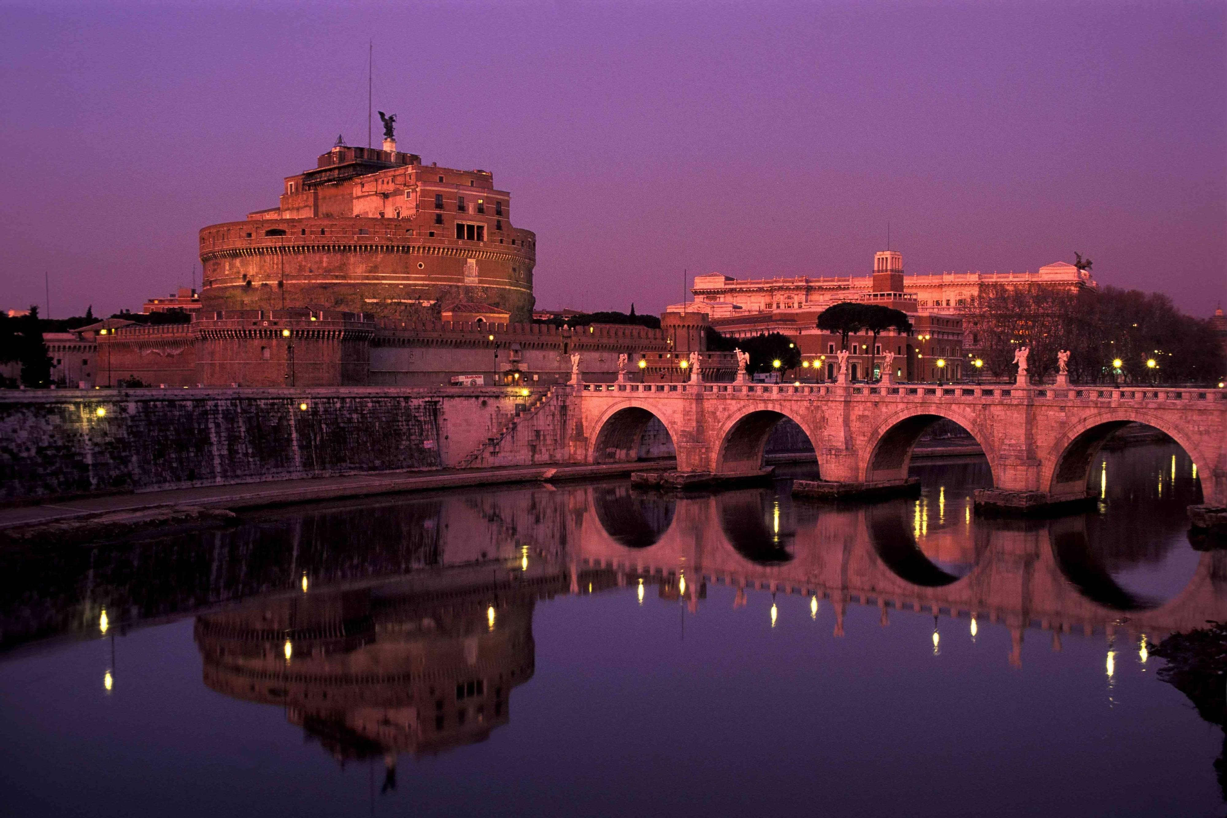 Castel Sant'Angelo view from the Tiber river in Rome, Italy