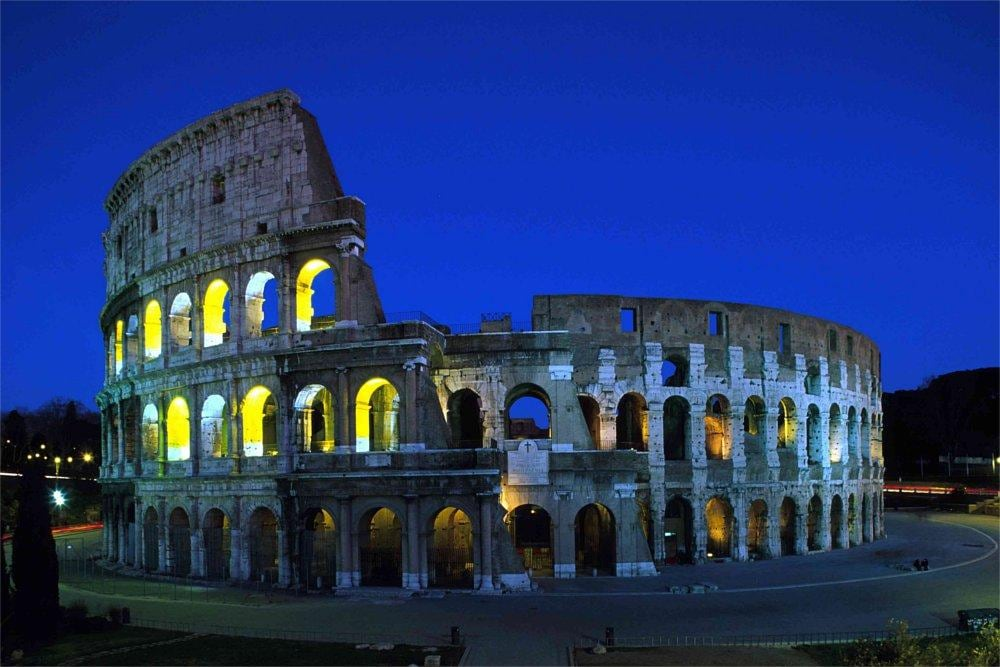 Downtown Rome and the Colosseum in Rome, Italy