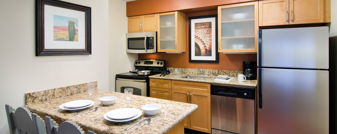 All of our suites offer fully-equipped kitchens, allowing you to cook just like you would at home.