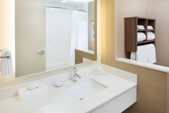 All of our queen/queen guest rooms and queen suites come equipped with a shower/tub combination and plenty of counter space to put your cosmetics or toiletries.