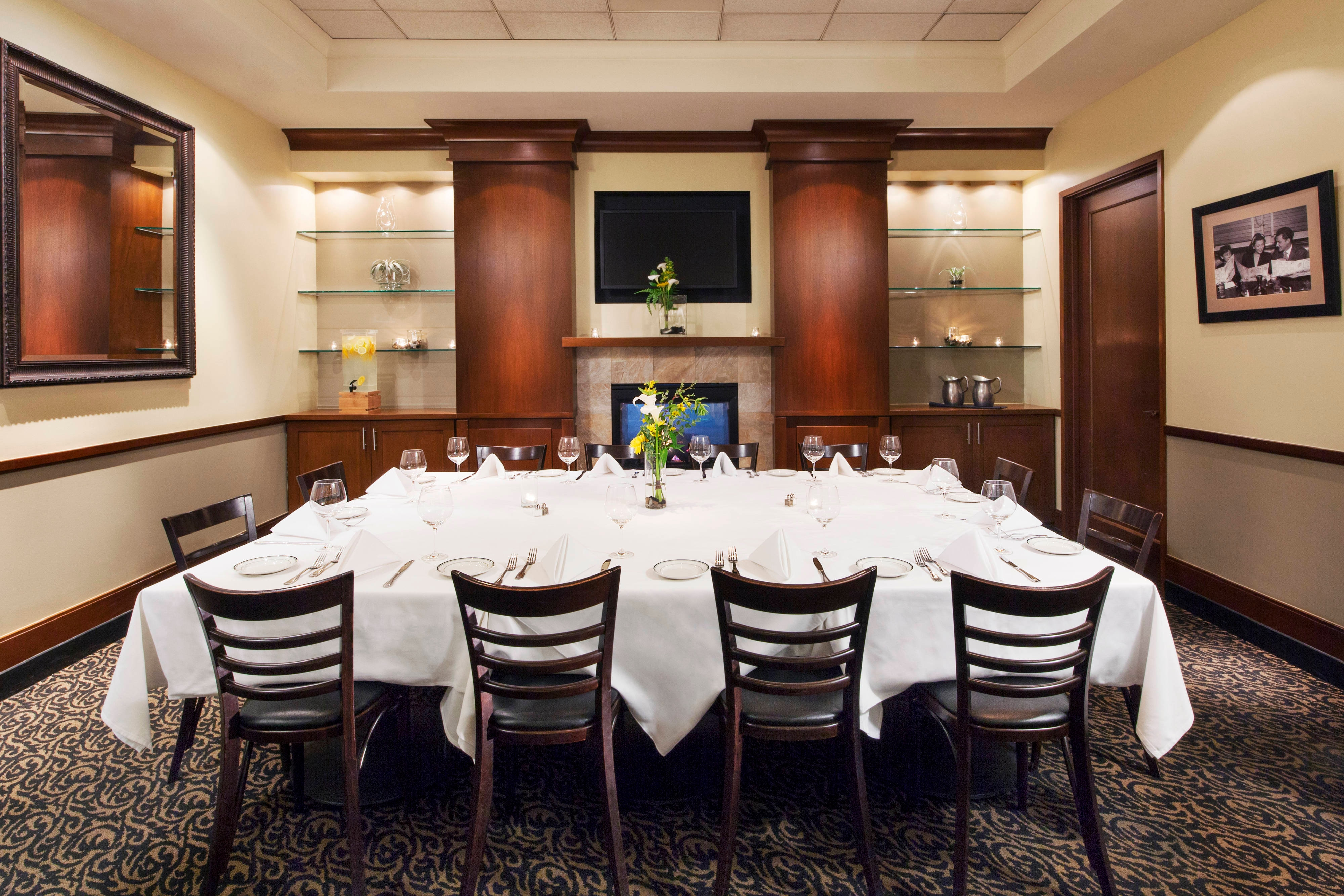 Grill Room with formal seating for 10 clients.