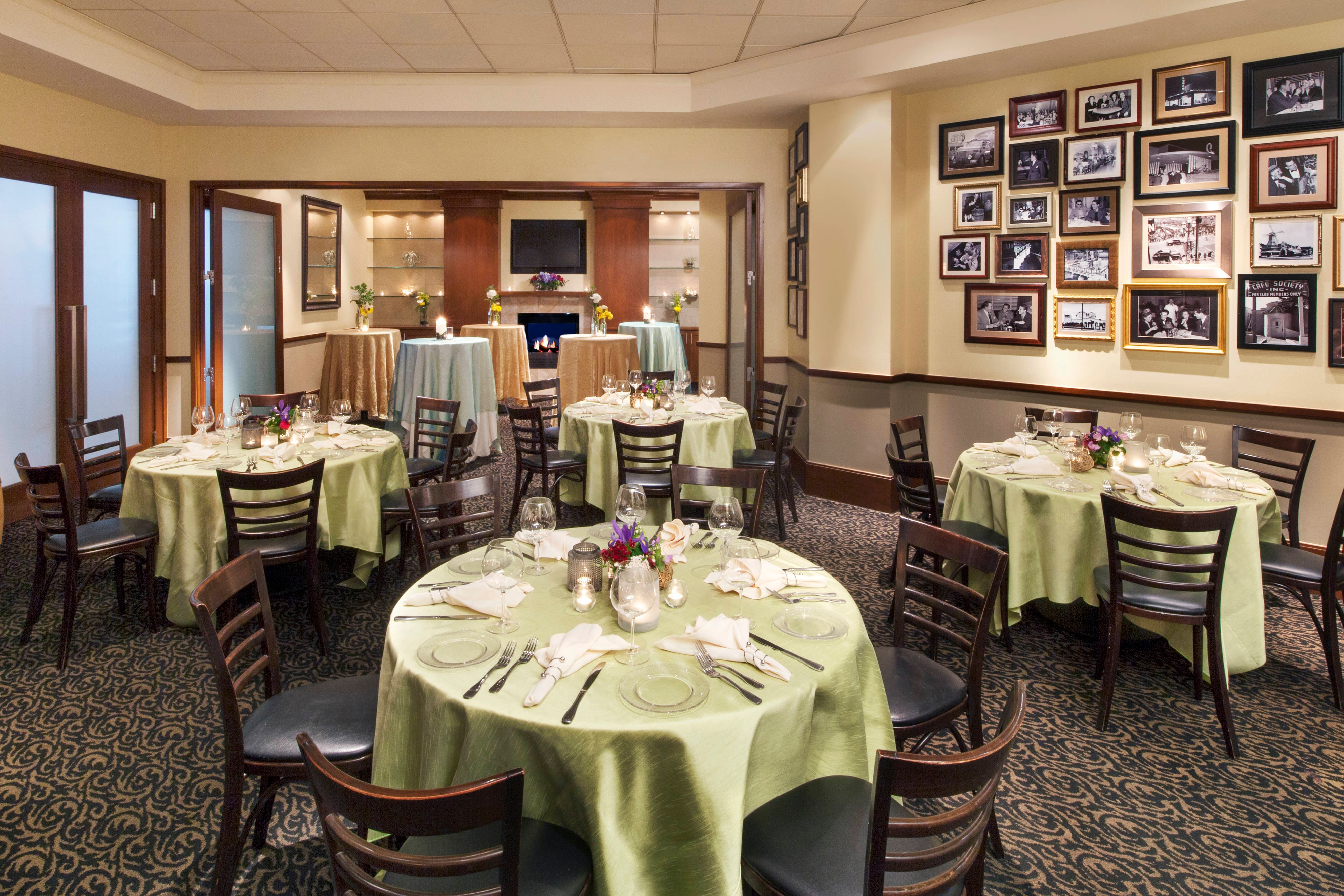 LooKing through the evergreen Room into the Grill Room in Daily Grill