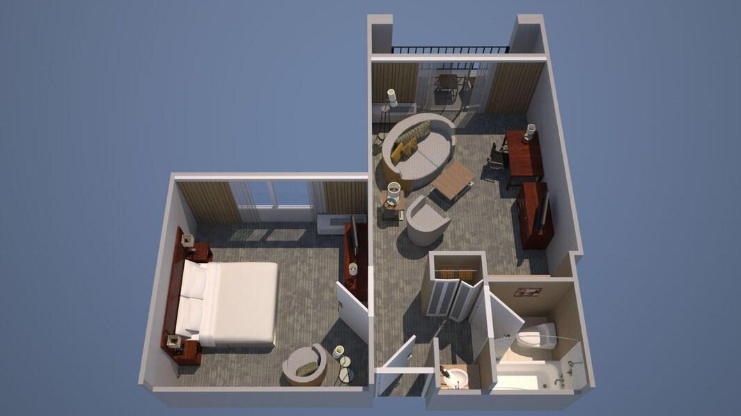 Plano de planta de la suite con una cama King