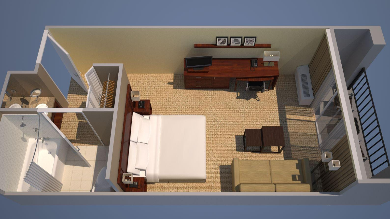 Guest Room, 1 King Floor Plan
