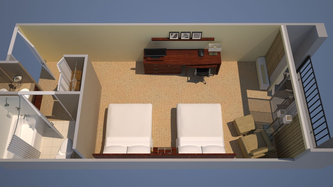 Guest Room, 2 Queen Floor Plan