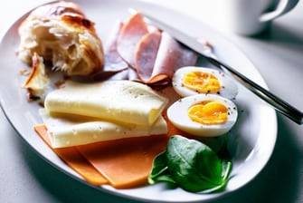 breakfast plate with hard boiled eggs, cured meats, cheeses, and flaky croissant