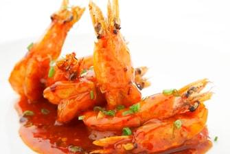 油炸大虾配芒果酱