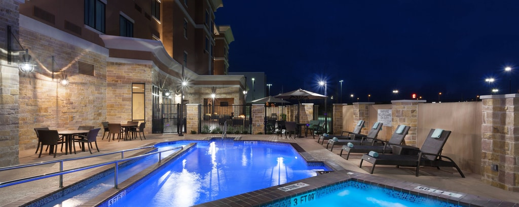 Outdoor Pool and Spa Nightime