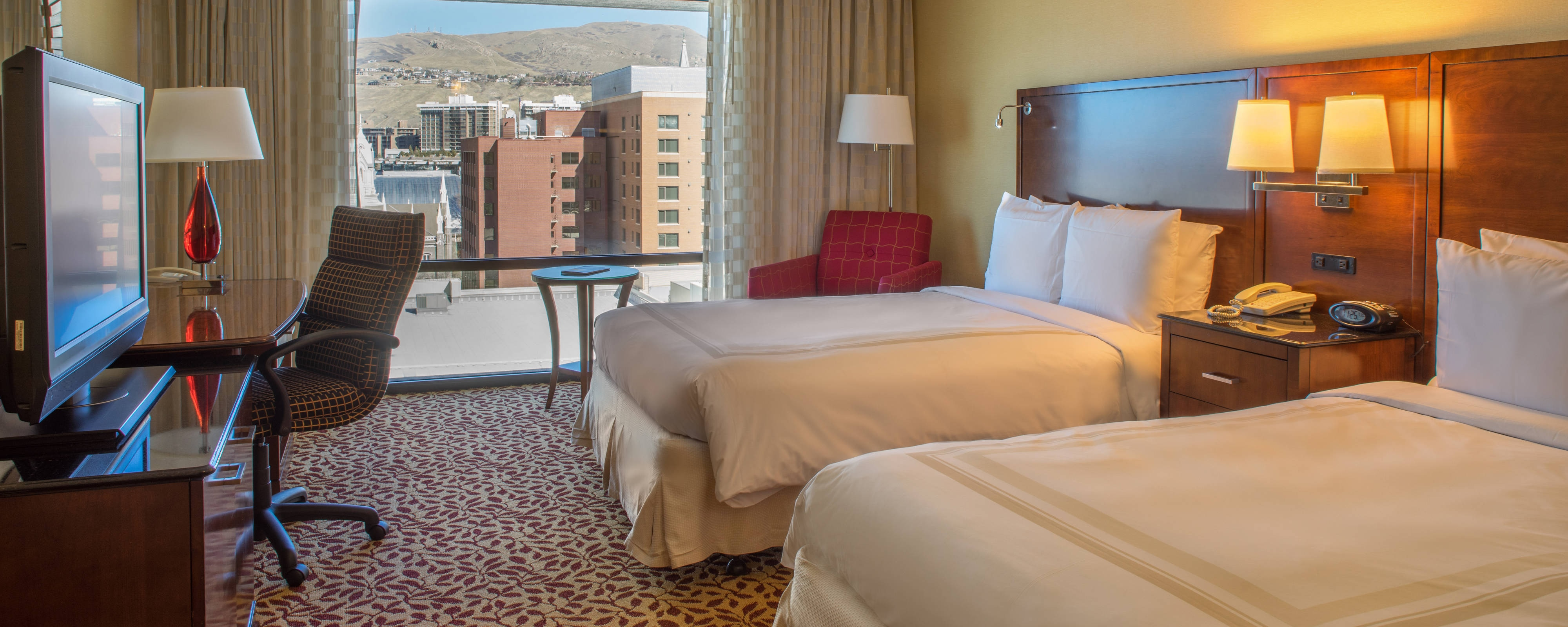 Camera con due letti queen dell'hotel Marriott Salt Lake