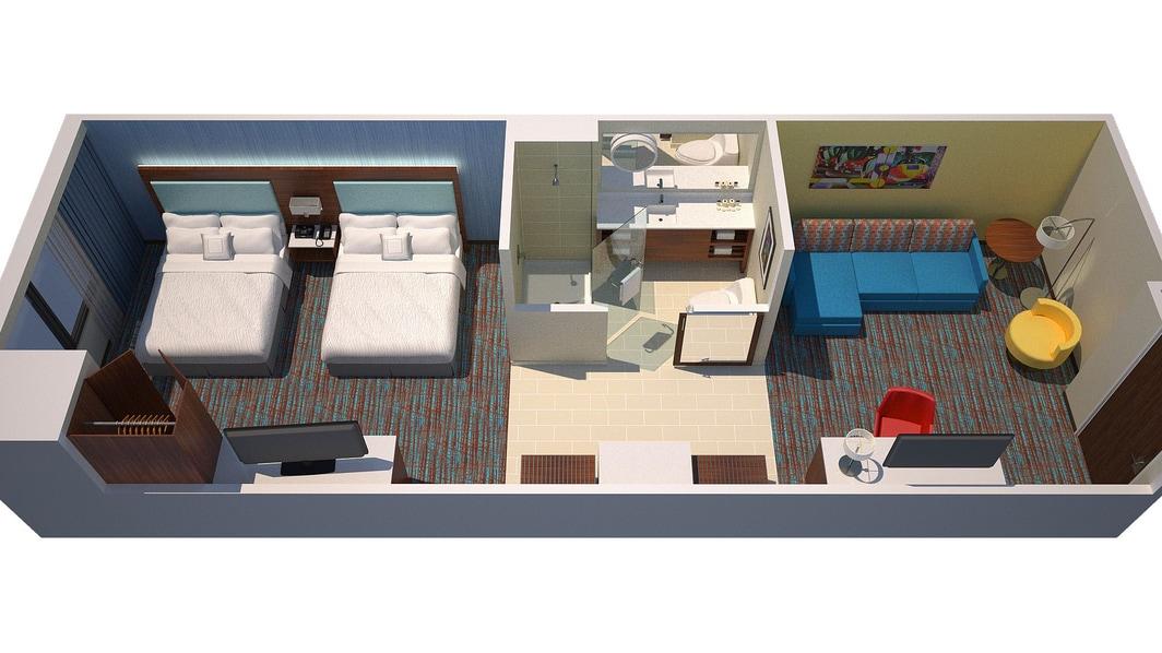 Springhill Suites at Anaheim Resort Studio Queen Suite Floor Plan