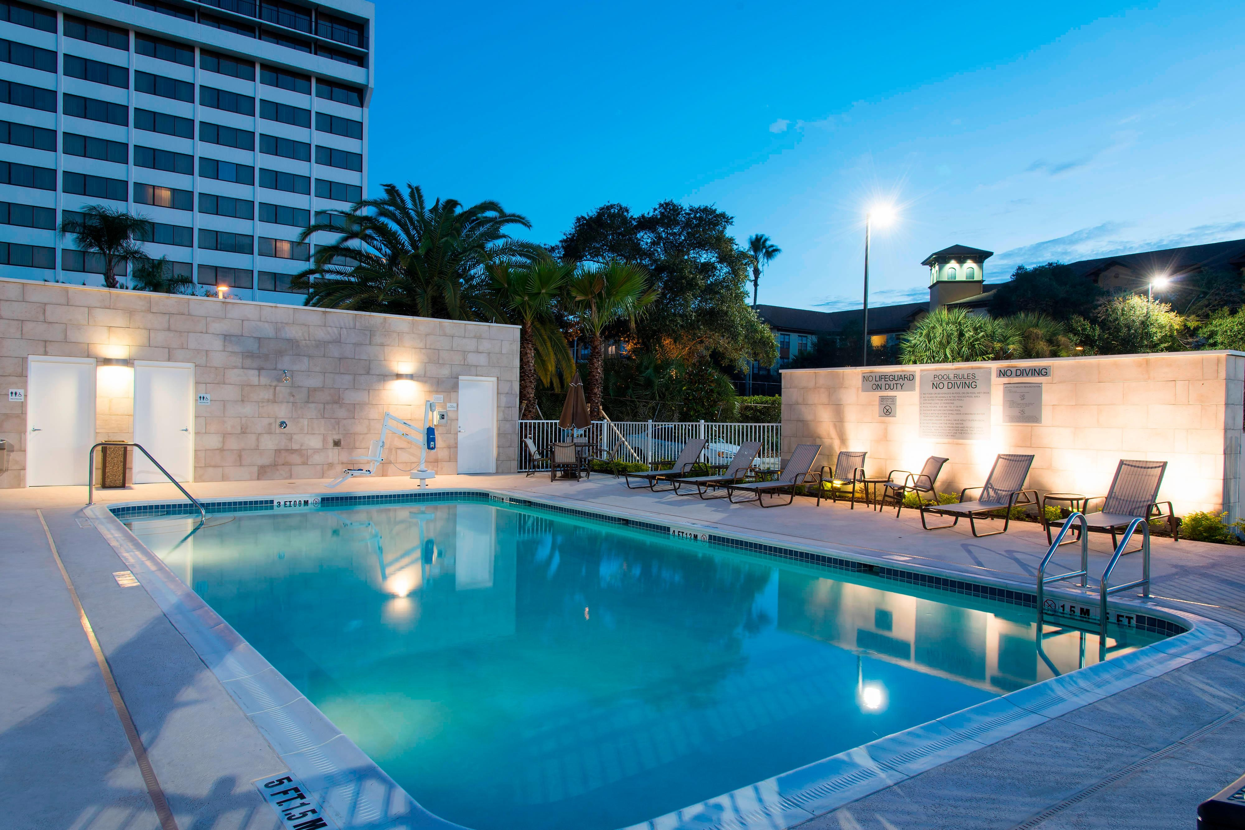 Outdoor Heated Pool with Seating
