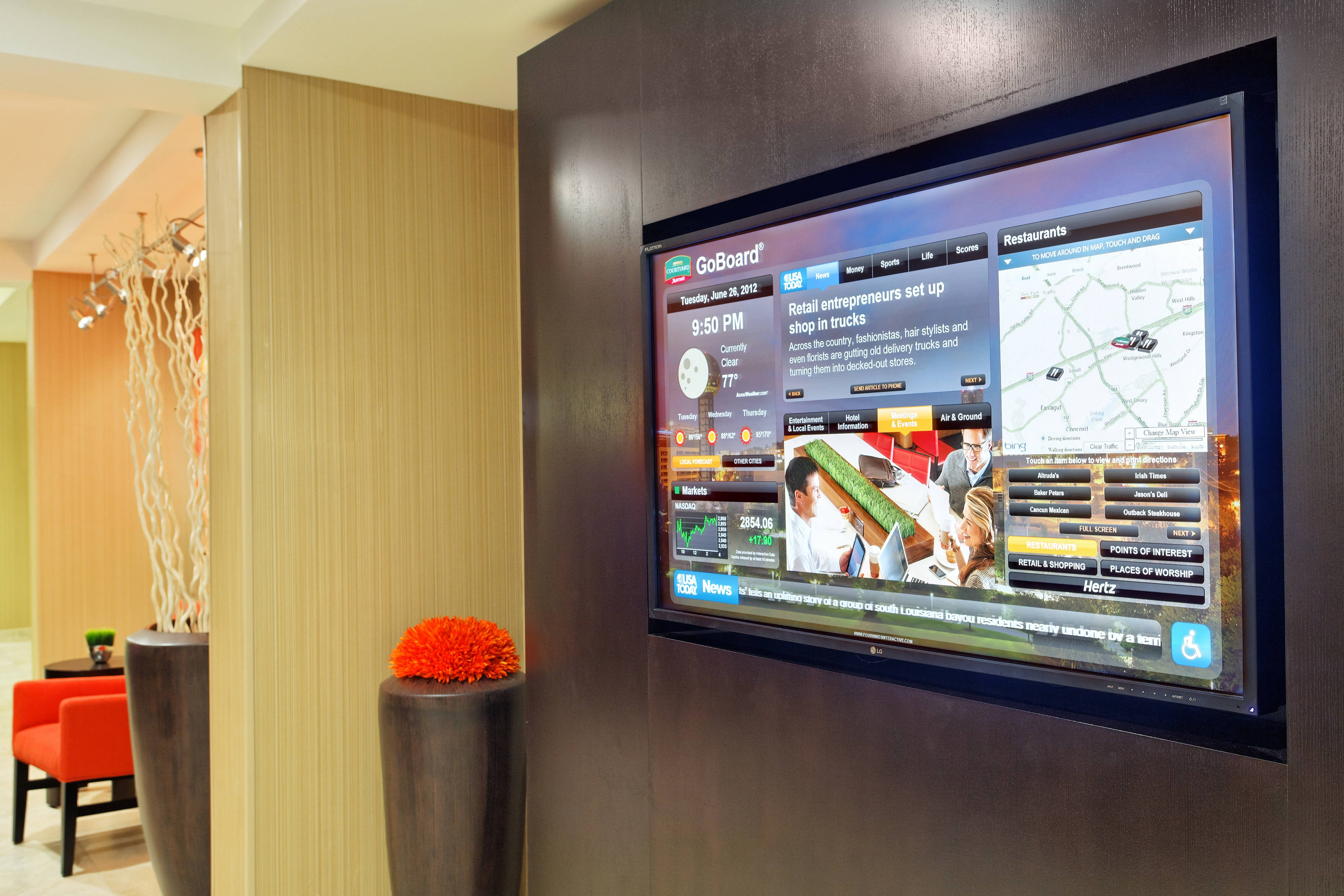 Catch up on the latest news with the new Courtyard GoBoard, located in the hotel lobby for your convenience. Enjoy an interactive experience as you navigate the touch-screen display to access driving
