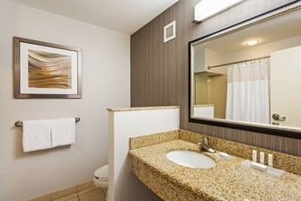 Bathroom Vanity with Lighted Mirror and Amenities