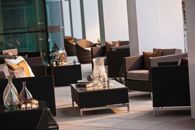 Downtown Arlington hotel terrace lounge