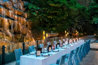 Courtyard - Long Table set up on Waterfall