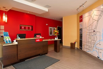 hotel, hotels, thunder bay, marriott, towneplace suites, front desk, lobby, map, information