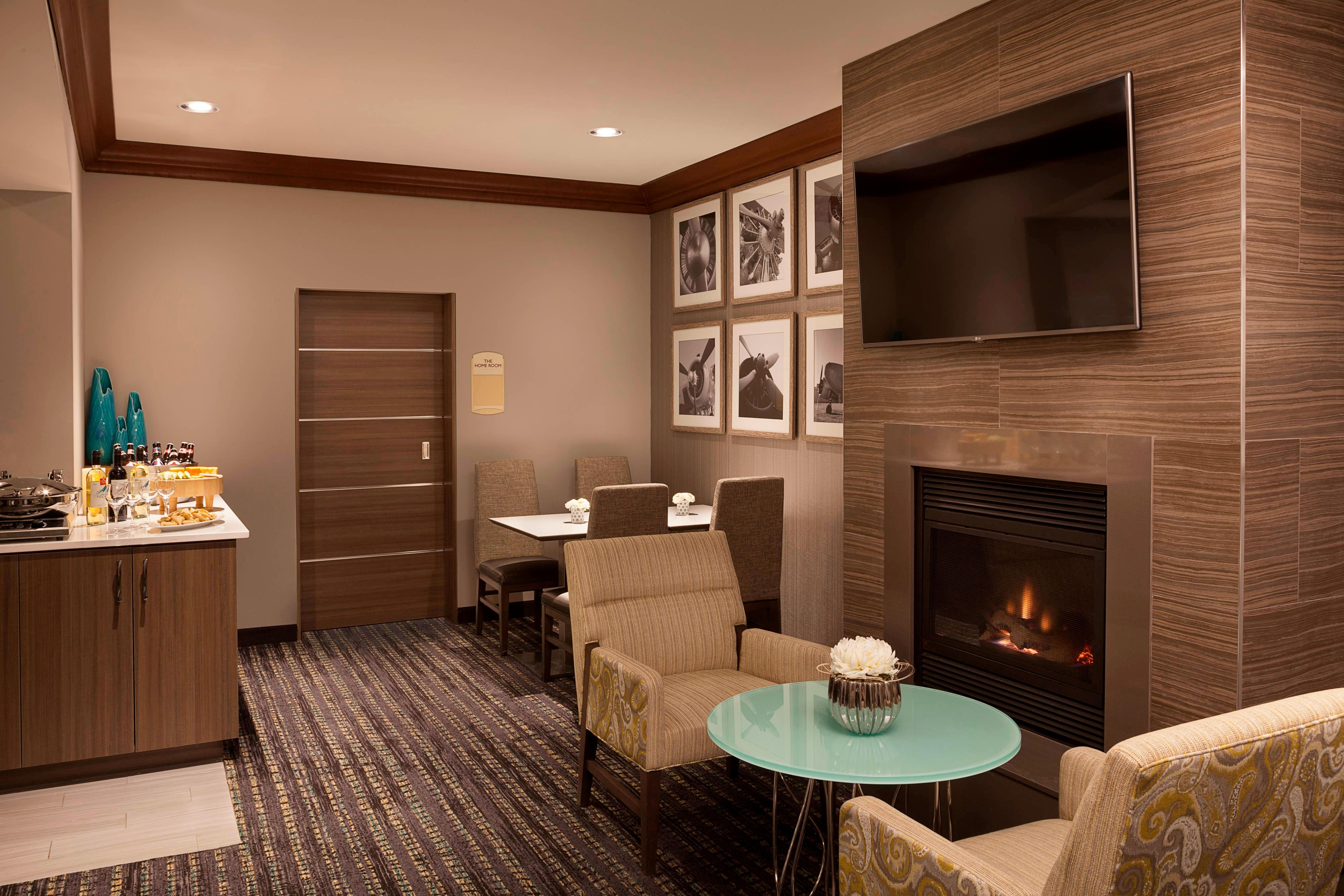 Residence Inn Toronto Airport Hearth Room Fireplace