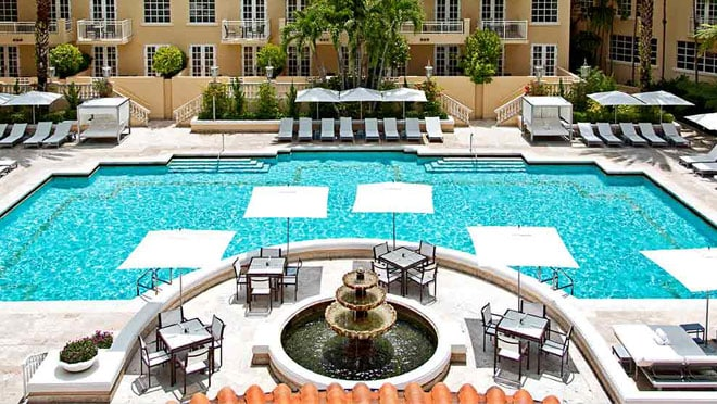 Overhead view of guest pool at Turnberry Isle Miami