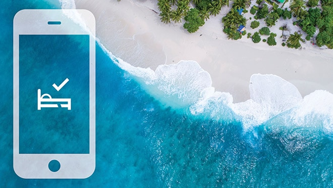 Overhead view of beach. Mobile App icon