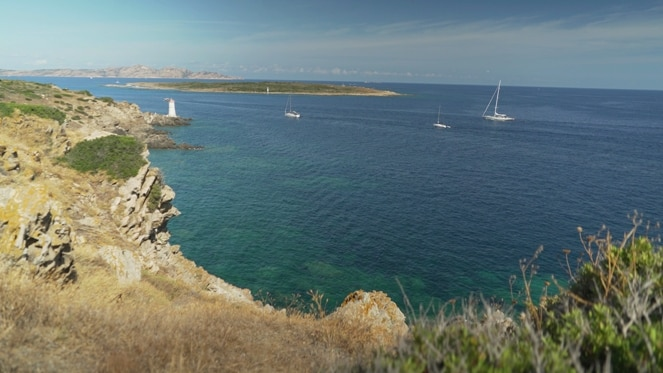 View of the sea from a cliff in Sardinia