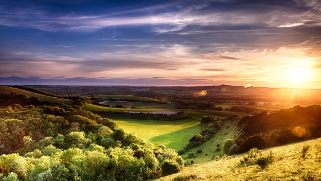 Hills in England at sunset
