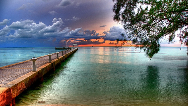 Rum point pier at sunset, Grand Cayman