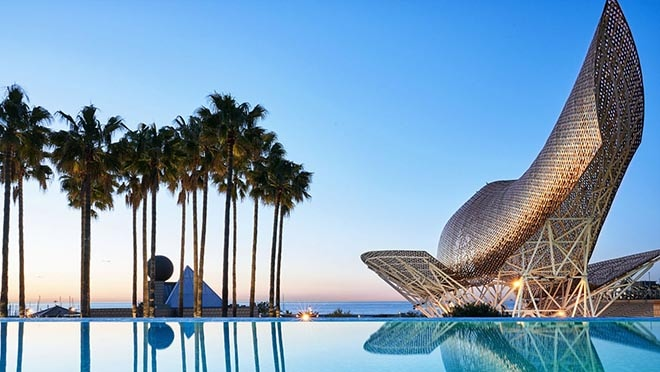 Hotel Arts Barcelona. Hotel pool and sea view